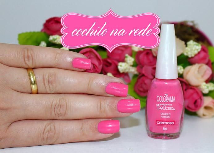 Cochilo na rede Colorama no Esmalte da semana (rosa chiclete
