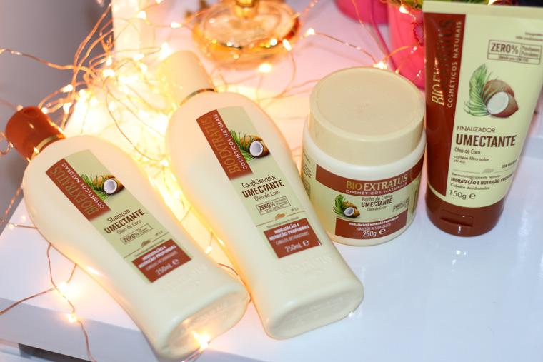 Linha óleo de coco Umectante Bio Extratus: resenha e aplicação dos produtos passo a passo